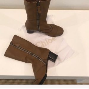 CHLOE double zippd boots w dust bag & protect sole